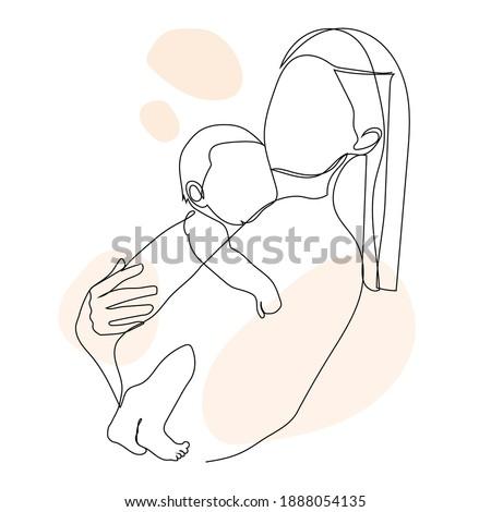 amamentação · cartaz · modelo · vetor · linha · ilustração - foto stock © Nadiinko