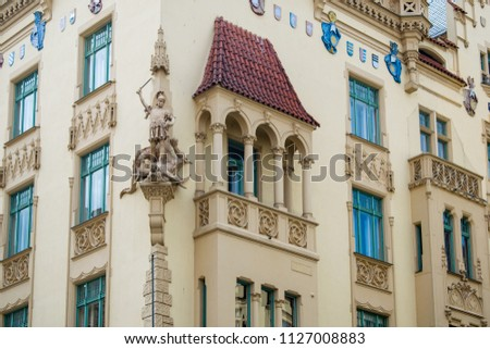 Belo fachada antigo edifício trimestre tcheco República Checa Foto stock © Kirill_M