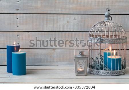 ランタン 青 キャンドル 白 木製 コピー ストックフォト © Yatsenko