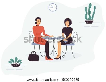 Grappig dame mode illustrator vergadering tabel Stockfoto © deandrobot