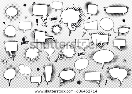 comic speech bubble element halftone circle on transparent back stock photo © pashabo