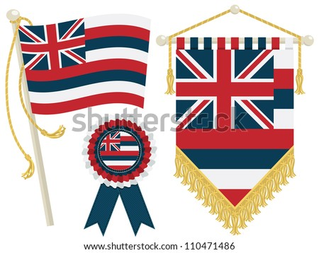 hawaii flag pennant vector hawaiian pennant cocnept design vintage surfing template usa hawaii pen stock photo © jeksongraphics