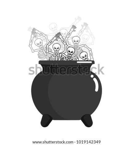 Sinner in pot. Skeleton in boiler. Cook for sinners in resin. Re Stock photo © popaukropa