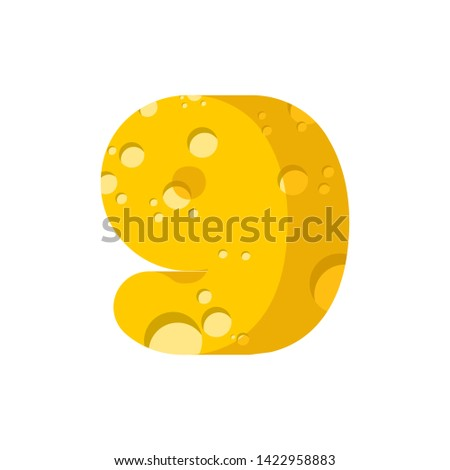 figure 9 cheese font. numeral nine of cheesy alphabet. Dairy Foo Stock photo © popaukropa