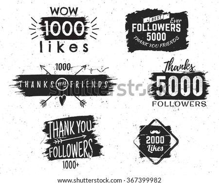 vintage thank you watercolor ink splash badge social media followers label and likes sticker hand stock photo © jeksongraphics