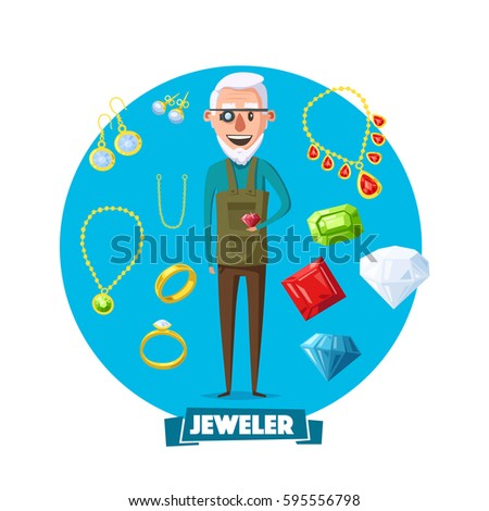 Jeweler Man Vector. Eyeglass Magnifier, Jewelry Gem Items. Occupation Person To Work With Precious S Stock photo © pikepicture