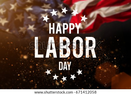 Happy Labor Day. On grunge United States of America flag. Abstra Stock photo © pashabo
