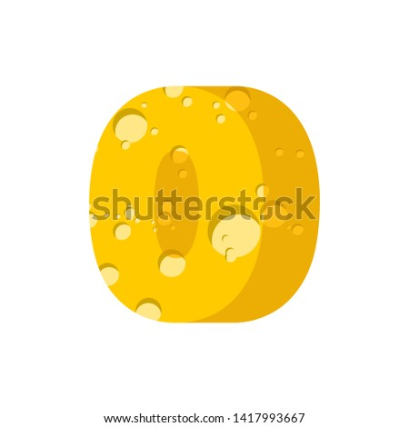 Figure 0 cheese font. numeral zero of cheesy alphabet. Dairy Foo Stock photo © popaukropa