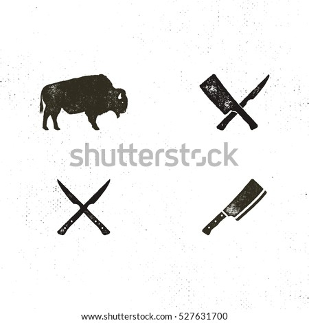 Stockfoto: Steak House Vintage Label Typography Letterpress Design Vector Retro Logo Included Bbq Grill Symb