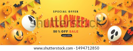 Halloween Sale vector illustration with coffin and Holiday elements on wood texture background. Desi Stock photo © articular