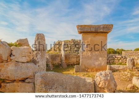 Starożytnych kamień tabeli wyspa Hiszpania ściany Zdjęcia stock © tuulijumala