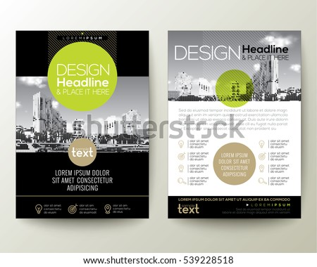 dark business brochure vector design with geometric green shapes stock photo © sarts