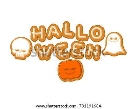 Halloween kurabiye simge matbaacılık kurabiye harfler Stok fotoğraf © MaryValery