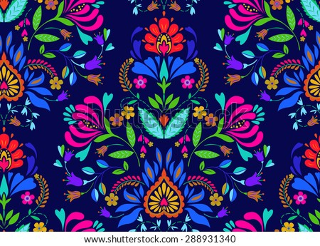 seamless folk art vector pattern   polish traditional repetitive design with flowers stock photo © redkoala
