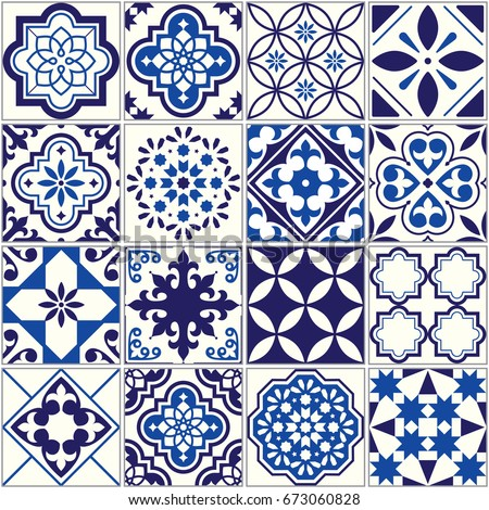 Spanish or Portuguese vector tile pattern, Lisbon floral mosaic, Mediterranean seamless navy blue or Stock photo © RedKoala