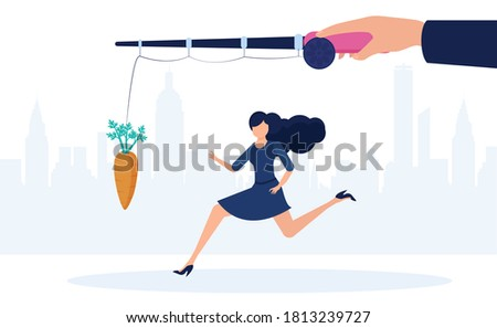 incentive trap business concept man running towards a dollar symbol trying to catch it stock photo © ichiosea