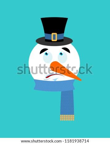 Snowman surprised emotion avatar.  astonished emoji face. New Ye Stock photo © popaukropa