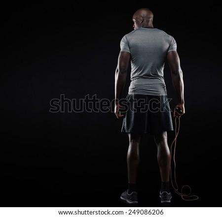 Vista posteriore giovani african uomo corpo muscoloso Foto d'archivio © deandrobot