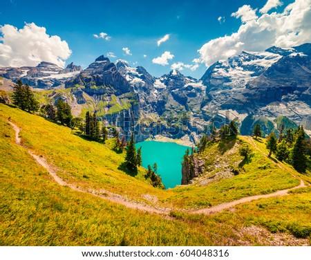 alpino · pôr · do · sol · alpes · céu · água · montanha - foto stock © leonidtit