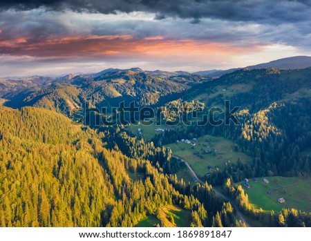 View of the alpine hill that glowing by sunlight. Location Funes Stock photo © Leonidtit