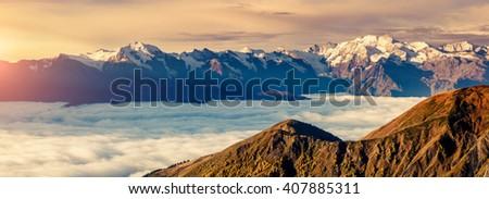 Fantastyczny mgły stóp lokalizacja dramatyczny Zdjęcia stock © Leonidtit