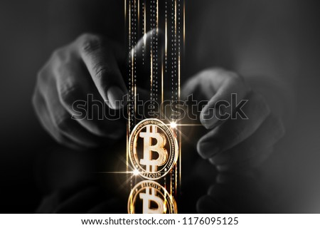Hacker and bitcoin. Thief and crypto currency. Steal virtual mon Stock photo © popaukropa