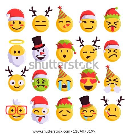 Christmas bal emoties ingesteld geïsoleerd Stockfoto © rogistok