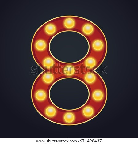 8 Number Vector. Eight Font Marquee Light Sign. Realistic Retro Shine Lamp Bulb. 3D Glowing Digit. V Stock photo © pikepicture