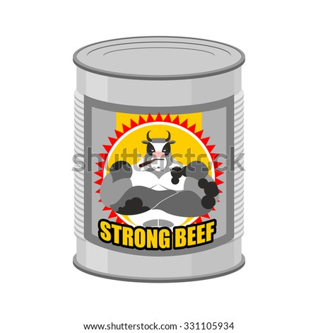 canned meat beef canned food from a serious and strong cow st stock photo © popaukropa