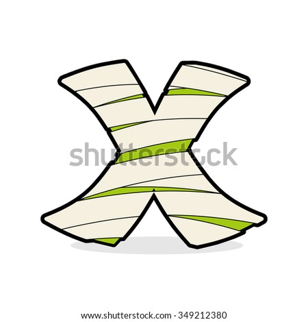 Letter X Monster zombie. Alphabetical icon medical bandages. Egy Stock photo © popaukropa