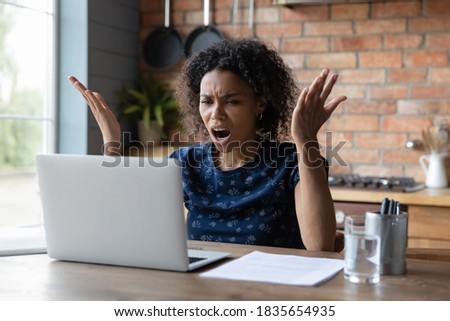 African american worried woman. Angry business girl. Nervous ban Stock photo © NikoDzhi