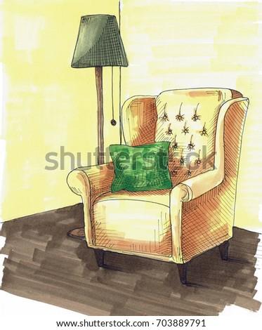 Sandalye yastık sonraki lamba parlak Stok fotoğraf © Arkadivna