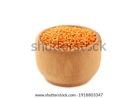 bowl of green lentil porridge and spoon isolated healthy food f stock photo © maryvalery