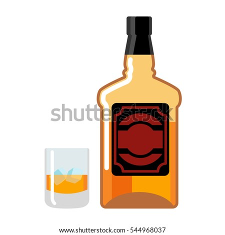 marrom · garrafa · gelo · isolado · branco · bar - foto stock © popaukropa