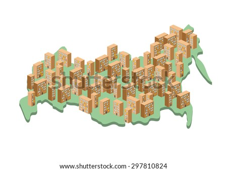 Russia Architectural map .Grey building on entire territory of c Stock photo © popaukropa