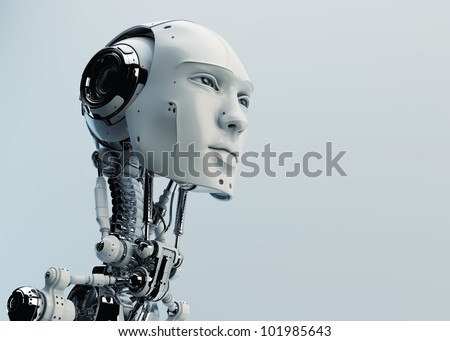 Robot man. Cybernetic man with mechanical hands. Bionic Artifici Stock photo © popaukropa
