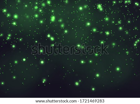 Falling glow green particles on black background. Holiday, nightclub, party card. Vector illustratio Stock photo © gladiolus