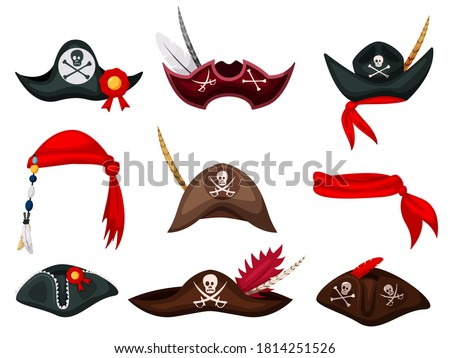 pirates cap set hat buccaneer bones and skull corsair accesso stock photo © popaukropa