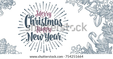 Gravé joyeux Noël happy new year typographique design Photo stock © articular