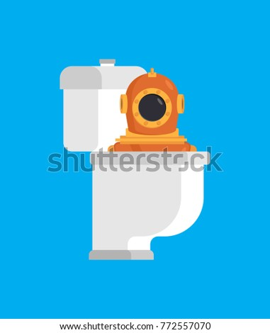 Diver from toilet. Retro Underwater diver in WC. Vector illustra Stock photo © MaryValery