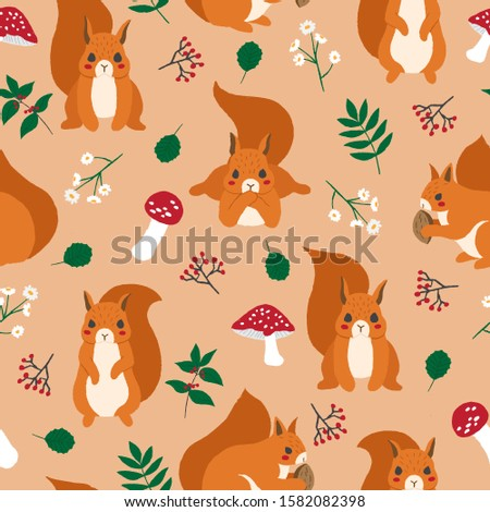 Squirrel seamless pattern. Background from hilarious animal with Stock photo © popaukropa