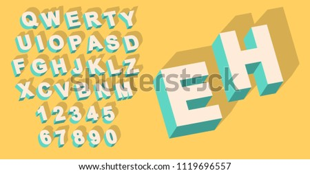 Foto stock: Vector · vintage · tipo · alfabeto · 3D · efecto