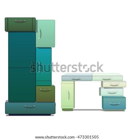 guarda-roupa · secretária · isolado · branco · vetor · desenho · animado - foto stock © Lady-Luck