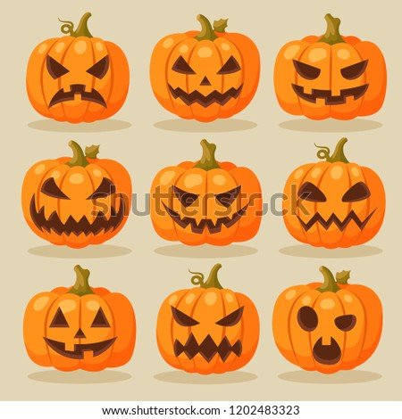 Set of ripe pumpkin with eyes and mouth, Jack-o-Lanterns. Attribute of the holiday of Halloween. Ske Stock photo © Lady-Luck