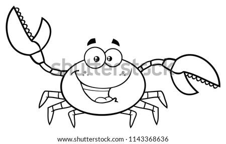 Preto e branco caranguejo mascote saudação Foto stock © hittoon