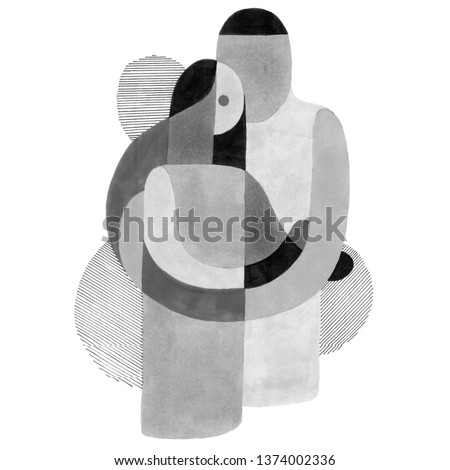Man and woman kiss. Love abstraction. Two figures of embrace. Pl Stock photo © popaukropa