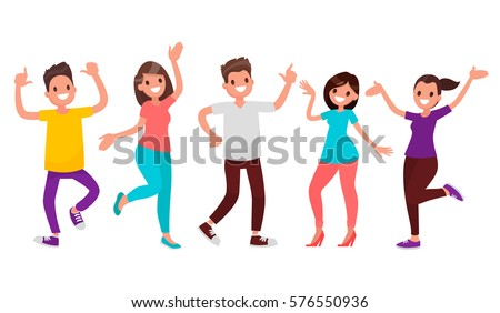 dancing people set vector friends disco party happy people celebrate isolated flat cartoon illust stock photo © pikepicture