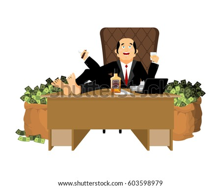 Rich man sits at table and drinks whiskey. To smoke cigar. pluto Stock photo © popaukropa