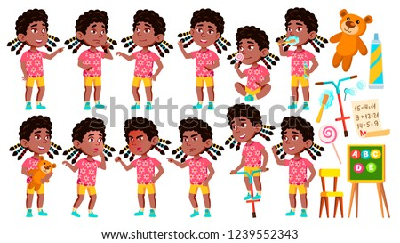 Girl Kindergarten Kid Poses Set Vector. Black. Afro American. Preschool, Childhood. Smile. Toys. For Stock photo © pikepicture