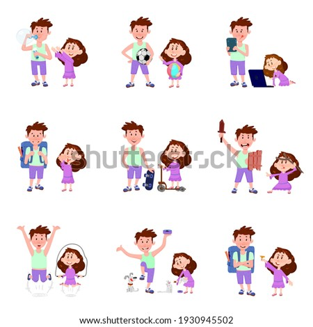 Teen Boy Poses Set Vector. Pet, Dog. Emotional, Pose. For Advertising, Placard, Print Design. Isolat Stock photo © pikepicture